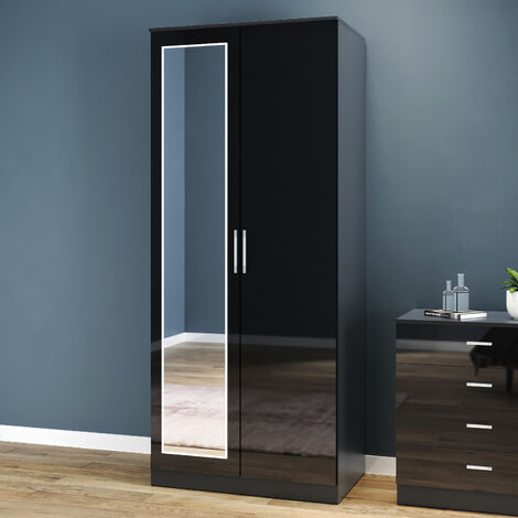 ELEGANT Modern High Gloss Soft Close 2 Doors Wardrobe with Metal Handles Includes a removable hanging rod and storage shelves