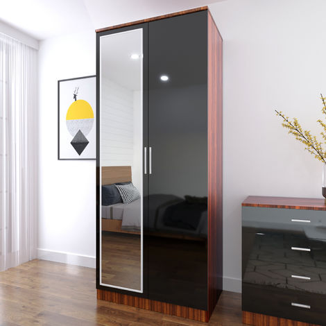 ELEGANT Modern High Gloss Soft Close 2 Doors Wardrobe with Mirror and Metal Handles Includes a removable hanging rod and storage shelves, Black/Walnut
