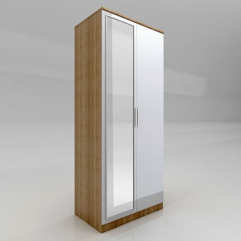 ELEGANT Modern High Gloss Soft Close 2 Doors Wardrobe with Mirror and Metal Handles Includes a removable hanging rod and storage shelves, White/Oak