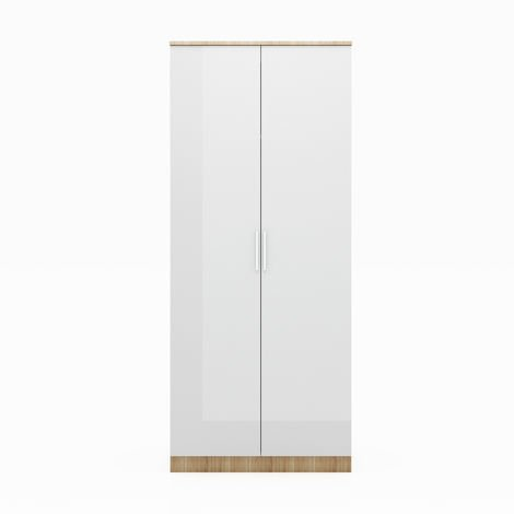 ELEGANT Modern High Gloss Soft Close Wardrobe with Metal Handles Includes a removable hanging rod and storage shelves, White/Oak
