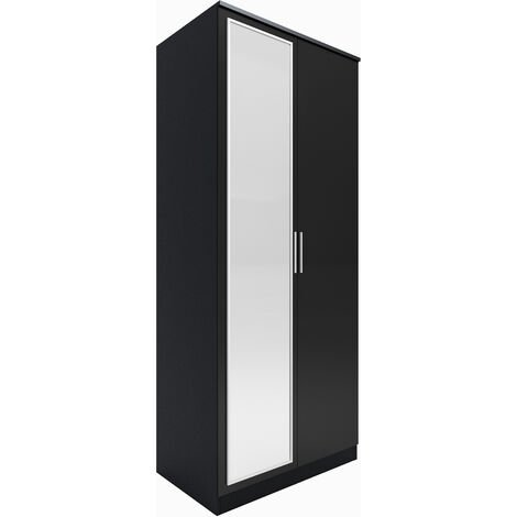ELEGANT Modern High Gloss Soft Close Wardrobe with Mirror and Metal Handles Includes a removable hanging rod and storage shelves, Black