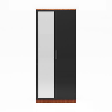 ELEGANT Modern High Gloss Soft Close Wardrobe with Mirror and Metal Handles Includes a removable hanging rod and storage shelves, Black/Walnut