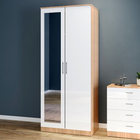 ELEGANT Modern High Gloss Soft Close Wardrobe with Mirror and Metal Handles Includes a removable hanging rod and storage shelves, White/Oak