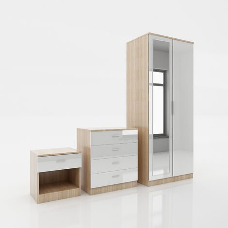 ELEGANT Modern High Gloss Wardrobe and Cabinet Furniture Set Bedroom 2 Doors Wardrobe and 4 Drawer Chest and Bedside Cabinet