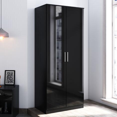 ELEGANT Modern High Gloss Wardrobe and Cabinet Furniture Set Bedroom 2 Doors Wardrobe and 4 Drawer Chest and Bedside Cabinet, Black