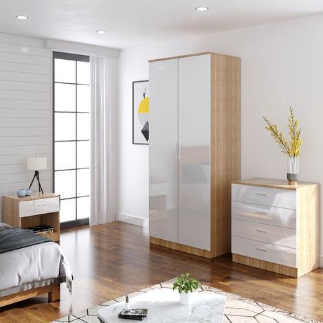 ELEGANT Modern High Gloss Wardrobe and Cabinet Furniture Set Bedroom 2 Doors Wardrobe and 4 Drawer Chest and Bedside Cabinet, White/Oak