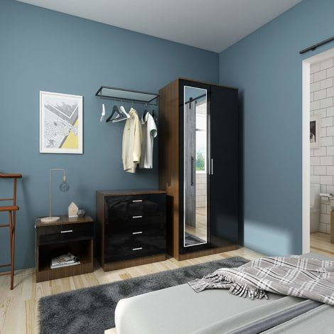 ELEGANT Modern High Gloss Wardrobe and Cabinet Furniture Set Bedroom 2 Doors Wardrobe with Mirror and 4 Drawer Chest and Bedside Cabinet, Black/Walnut