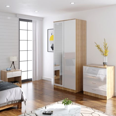 ELEGANT Modern High Gloss Wardrobe and Cabinet Furniture Set Bedroom 2 Doors Wardrobe with Mirror and 4 Drawer Chest and Bedside Cabinet, White/Oak