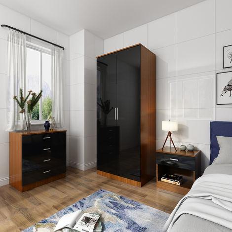 ELEGANT Modern High Gloss Wardrobe and Cabinet Furniture Set Bedroom Wardrobe and 4 Drawer Chest and Bedside Cabinet, Black/Walnut