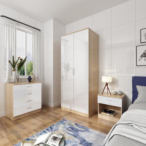 ELEGANT Modern High Gloss Wardrobe and Cabinet Furniture Set Bedroom Wardrobe and 4 Drawer Chest and Bedside Cabinet, White/Oak