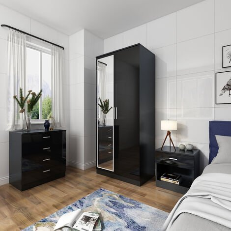 ELEGANT Modern High Gloss Wardrobe and Cabinet Furniture Set Bedroom Wardrobe with Mirror and 4 Drawer Chest and Bedside Cabinet, Black