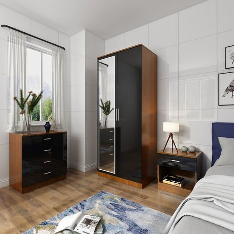 ELEGANT Modern High Gloss Wardrobe and Cabinet Furniture Set Bedroom Wardrobe with Mirror and 4 Drawer Chest and Bedside Cabinet, Black/Walnut