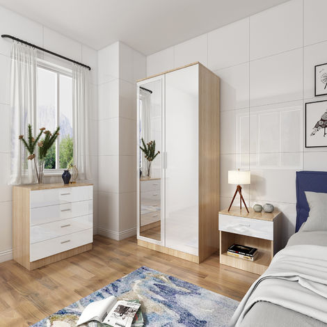ELEGANT Modern High Gloss Wardrobe and Cabinet Furniture Set Bedroom Wardrobe with Mirror and 4 Drawer Chest and Bedside Cabinet, White/Oak