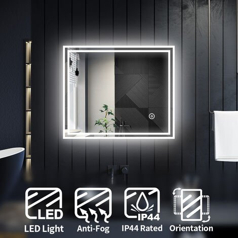 ELEGANT Modern LED Illuminated Bathroom Mirror with Light 600 x 500 mm Horizontal Vertical, Sensor