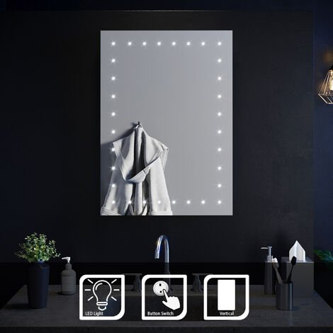 ELEGANT Modern LED Illuminated Bathroom Mirror with Light Button Switch 500 x 700 mm