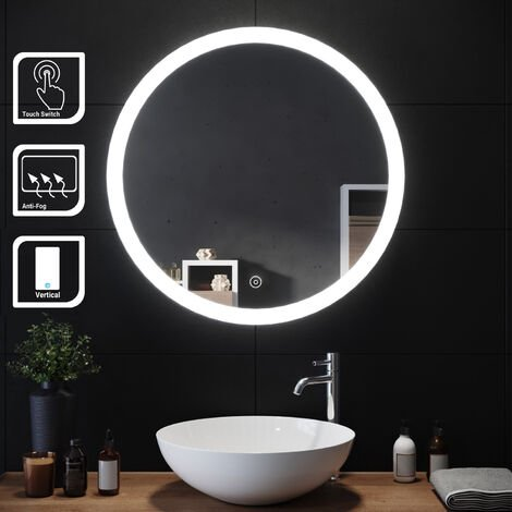 ELEGANT Modern Round Illuminated LED Bathroom Mirror 700 x 700 mmTouch Sensor + Demister