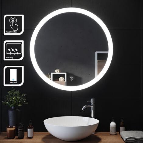 "main image of ""ELEGANT Modern Round Illuminated LED Bathroom Mirror 700 x 700 mmTouch Sensor + Demister"""