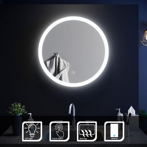 ELEGANT Modern Round Illuminated LED Bathroom Mirror Touch Sensor + Demister 600 x 600 mm
