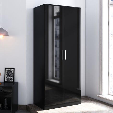 ELEGANT Modern Soft Close 2 Doors Wardrobe with Metal Handles Includes a removable hanging rod and storage shelves, Black