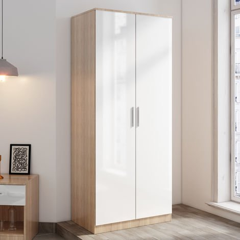 ELEGANT Modern Soft Close 2 Doors Wardrobe with Metal Handles Includes a removable hanging rod and storage shelves, White/Oak