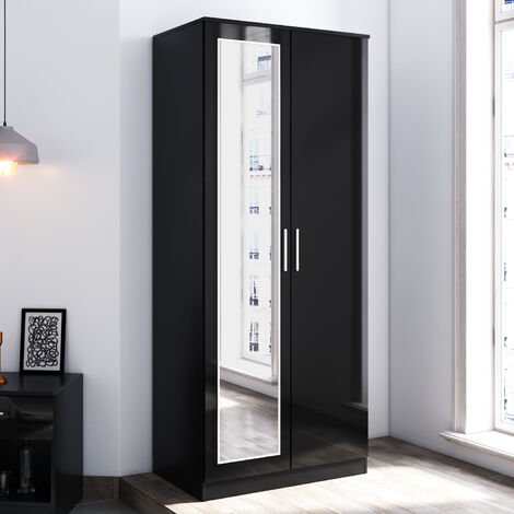ELEGANT Modern Soft Close 2 Doors Wardrobe with Mirror and Metal Handles Includes a removable hanging rod and storage shelves, Black