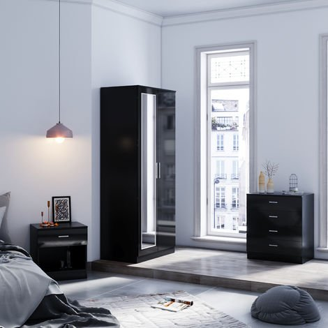 ELEGANT Modern Wardrobe and Cabinet Furniture Set Bedroom 2 Doors Wardrobe with Mirror and 4 Drawer Chest and Bedside Cabinet, Black