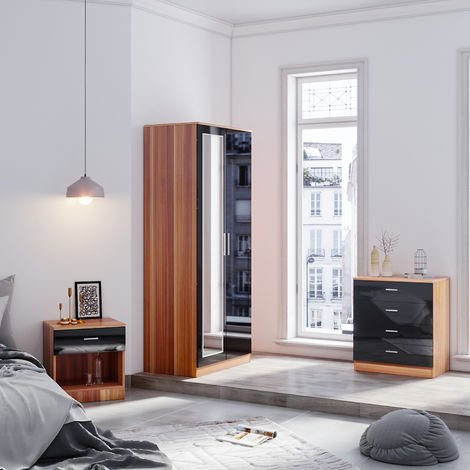 ELEGANT Modern Wardrobe and Cabinet Furniture Set Bedroom 2 Doors Wardrobe with Mirror and 4 Drawer Chest and Bedside Cabinet, Black/Walnut