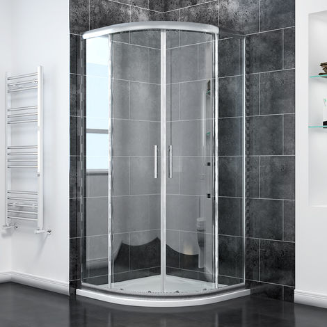 ELEGANT Quadrant Shower Cubicle 1000 x 1000 mm Sliding Shower Enclosure with Stone Tray + Waste
