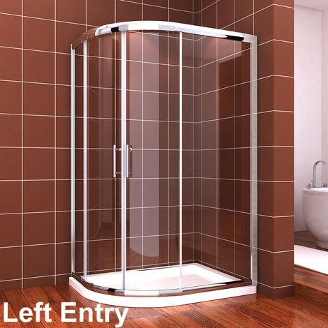 ELEGANT Quadrant Shower Cubicle Enclosure 1000 x 800 mm Sliding Door 6mm Easy Clean Glass