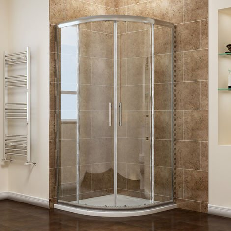 ELEGANT Quadrant Shower Cubicle Enclosure 6mm Glass Sliding Door with Stone Tray + Waste, 800 x 800 mm