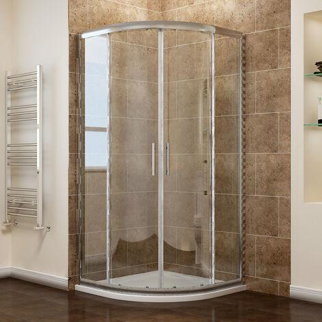 ELEGANT Quadrant Shower Cubicle Enclosure Sliding Door with Stone Tray + Waste, 800 x 800 mm