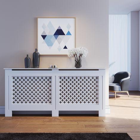 "main image of ""ELEGANT Radiator Cover Extra Large Modern Cross Slat White Painted Cabinet Radiator Shelves for Living Room/Bedroom/Kitchen, EXTRA LARGE"""