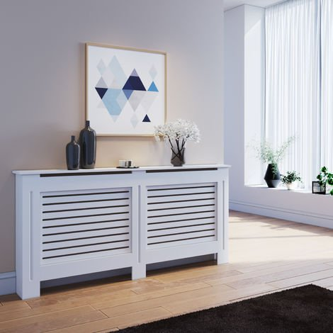 ELEGANT Radiator Cover Extra Large Modern Horizontal Slat White Painted Cabinet Radiator Shelve for Living Room/Bedroom/Kitchen, EXTRA LARGE