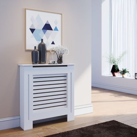 ELEGANT Radiator Cover Small Modern White Painted Cabinet Radiator Shelve for Living Room/Bedroom/Kitchen, SMALL
