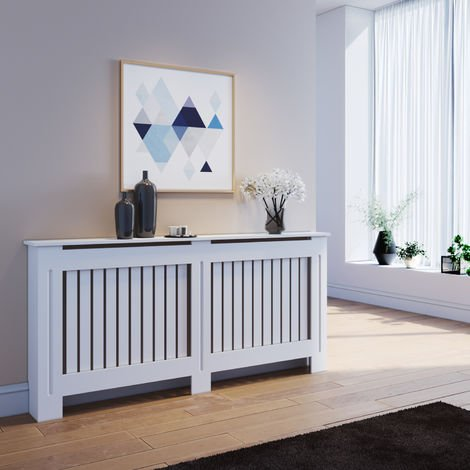 ELEGANT Radiator Covers Extra Large Modern Vertical Slat White Painted Cabinet Radiator Shelve for Living Room/Bedroom/Kitchen, EXTRA LARGE