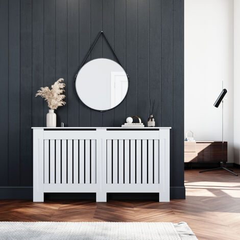 ELEGANT Radiator Covers Large Modern Vertical Slat White Painted Cabinet Radiator Shelve for Living Room/Bedroom/Kitchen, LARGE
