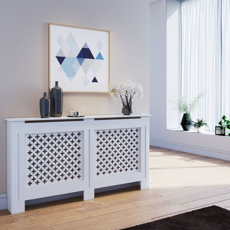 ELEGANT Radiator Covers Large Modern White Cross Slat Painted Cabinet Radiator Shelve for Living Room/Bedroom/Kitchen, LARGE