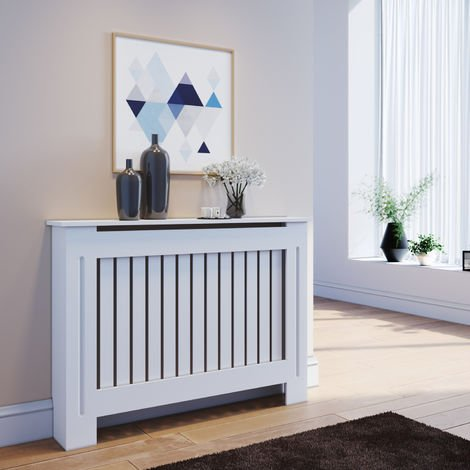 ELEGANT Radiator Covers Medium Modern Vertical Slat White Painted Cabinet Radiator Shelve for Living Room/Bedroom/Kitchen, MEDIUM