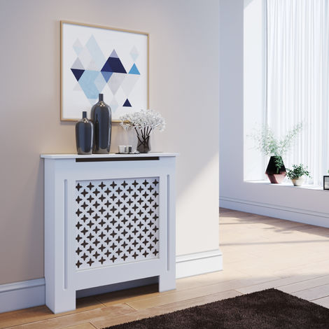 ELEGANT Radiator Covers Small Modern Cross Slat White Painted Cabinet Radiator Shelve for Living Room/Bedroom/Kitchen, SMALL