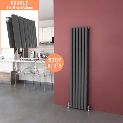 ELEGANT Radiators Double 1600 x 360mm Anthracite Oval Column Kitchen Panel Heater Designer Vertical Radiator