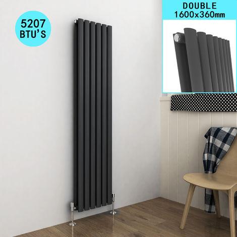 ELEGANT Radiators Double 1600 x 360mm Oval Column Kitchen Panel Heater Designer Vertical Radiator Anthracite