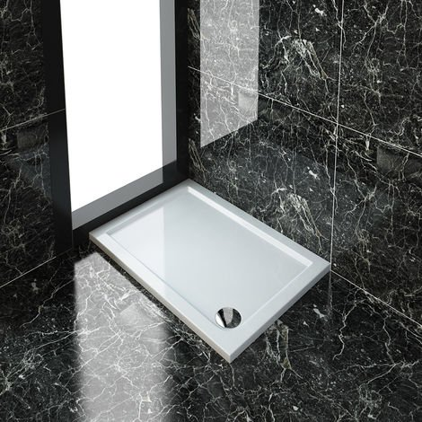 ELEGANT Rectangular 1000 x 700 x 40 mm Stone Tray for Shower Enclosure Cubicle + Waste Trap