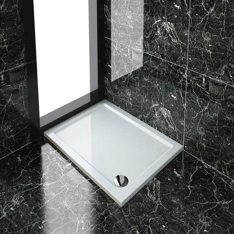 ELEGANT Rectangular 1000 x 760 x 40 mm Stone Tray for Shower Enclosure Cubicle + Waste Trap