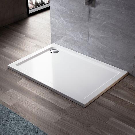 ELEGANT Rectangular 1000 x 800 x 40 mm Stone Tray for Shower Enclosure Cubicle + Waste Trap