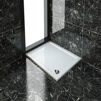 ELEGANT Rectangular 1000 x 800 x 40 mm Stone Tray for Shower Enclosure Cubicle + Waste Trap