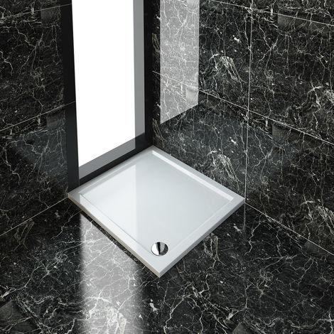 ELEGANT Rectangular 1000 x 900 x 40 mm Stone Tray for Shower Enclosure Cubicle + Waste Trap