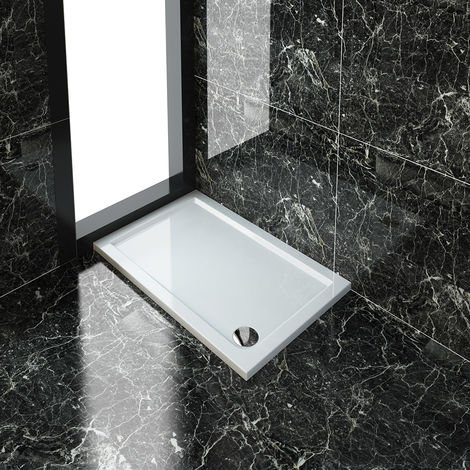 ELEGANT Rectangular 1100 x 700 x 40 mm Stone Tray for Shower Enclosure Cubicle + Waste Trap