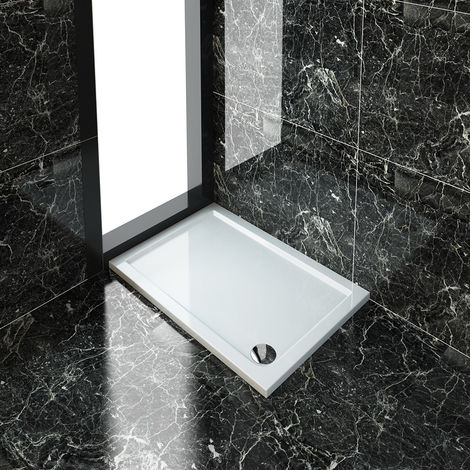 ELEGANT Rectangular 1100 x 760 x 40 mm Stone Tray for Shower Enclosure Cubicle + Waste Trap