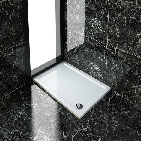ELEGANT Rectangular 1100 x 800 x 40 mm Stone Tray for Shower Enclosure Cubicle + Waste Trap