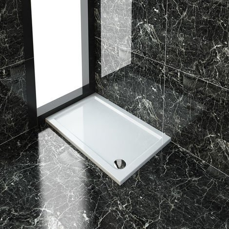 ELEGANT Rectangular 1200 x 700 x 40 mm Stone Tray for Shower Enclosure Cubicle + Waste Trap